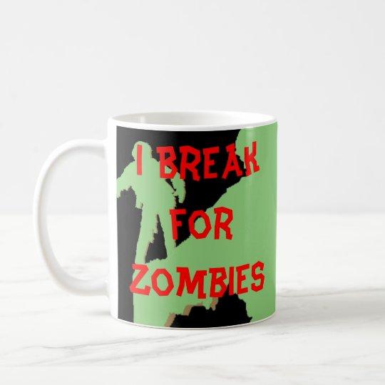 Me rompo para las siluetas verdes de los zombis taza de café