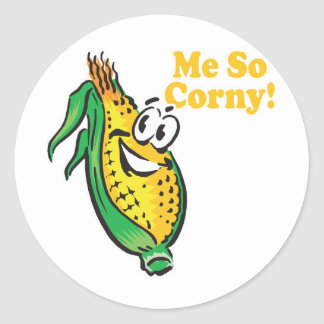 Me SO Corny  corn  cob Classic Round Sticker