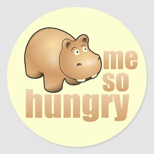 me so hungry funny hippo stickers