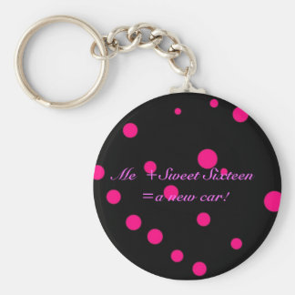 Me + Sweet Sixteen = a New Car Basic Round Button Keychain