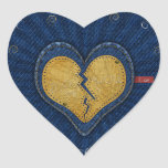 Me-you broken leather and jeans fabric heart heart sticker