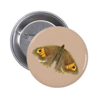 Meadow brown butterfly design buttons and badges