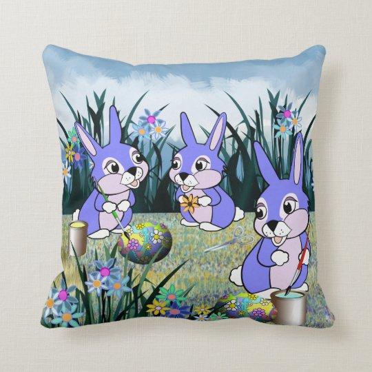 Meadow Bunnies Throw Pillow
