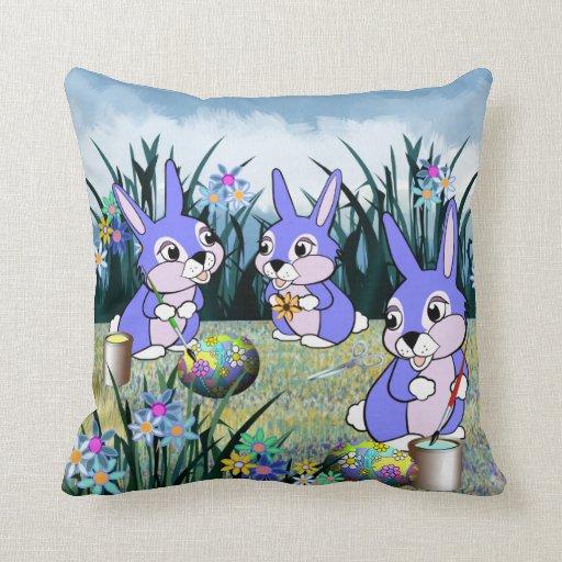 Meadow Bunnies Throw Pillows