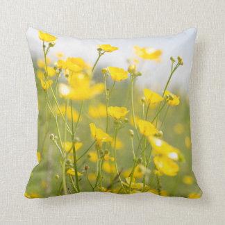 Meadow Buttercups Throw Pillow