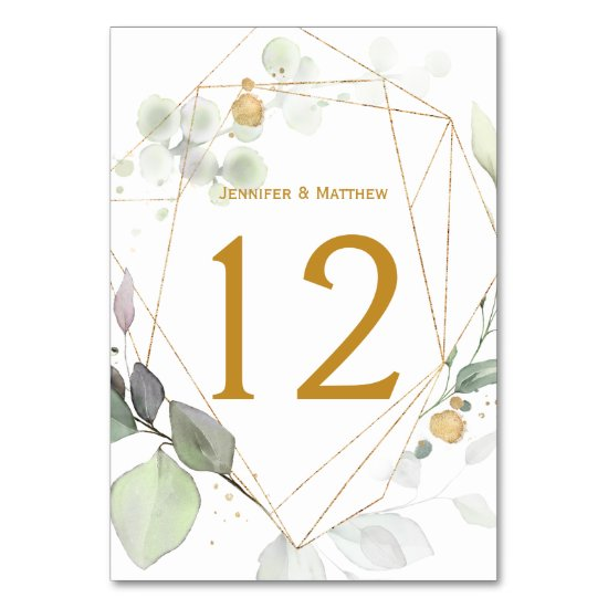 Meadow Eucalyptus Leaves Green & Gold Geometric Table Number