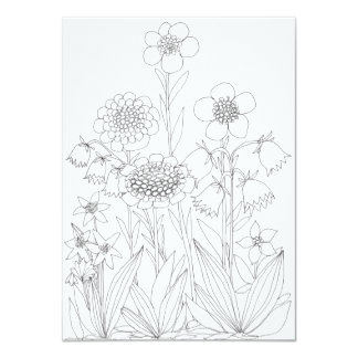 Meadow flowers coloring card