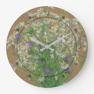 Meadow flowers, pastel painting, white daisies large clock
