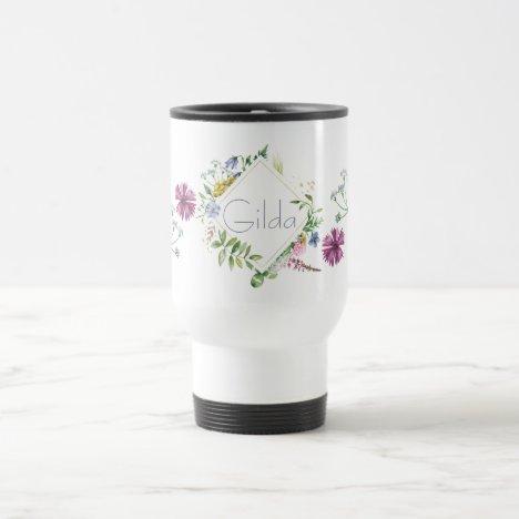 Meadow Flowers Personalized Travel Mug