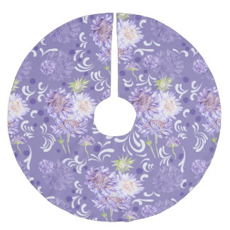 meadow flowers watercolor Pattern Brushed Polyester Tree Skirt