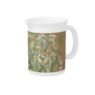 Meadow flowers, white daisies, wildflowers, floral drink pitcher