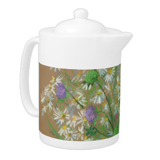 Meadow flowers, white daisies, wildflowers, floral teapot