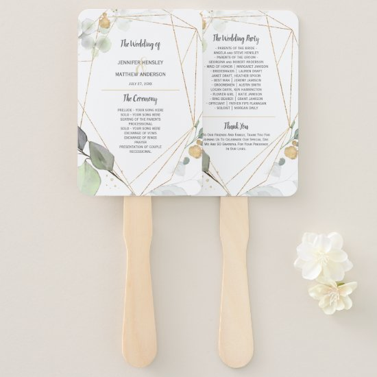Meadow Green and Gold Botanical Frame Wedding Hand Fan