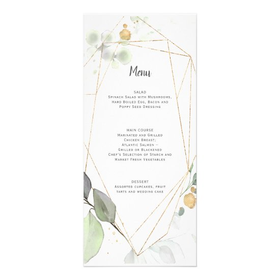 Meadow Green and Gold Botanical Geometric Wedding Rack Card