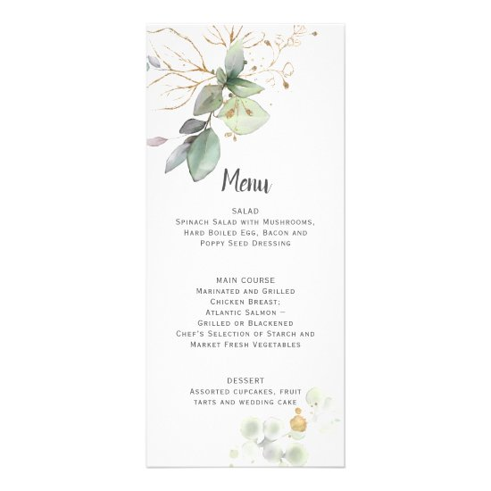 Meadow Green and Gold Botanical Wedding Menu