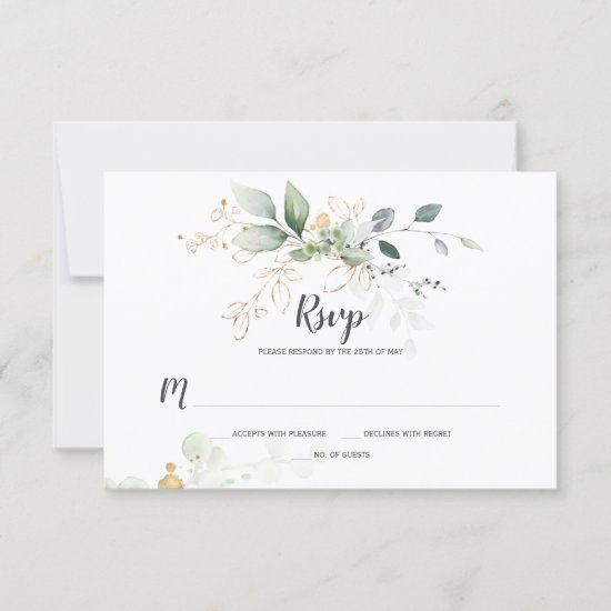 Meadow Green and Gold Botanicals RSVP Card