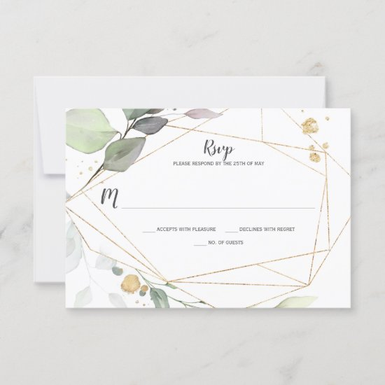 Meadow Green and Gold Leaves Geometric RSVP