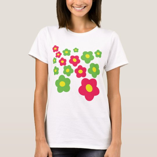 meadow green pink flowers T-Shirt