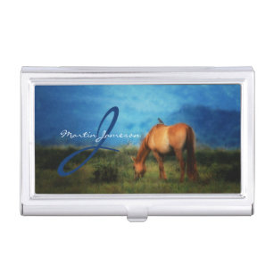 Equestrian business card holders cases zazzle meadow horse with bird monogrammed business card case colourmoves Choice Image