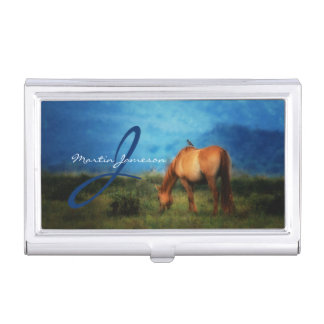 Meadow Horse with Bird Monogrammed Business Card Case