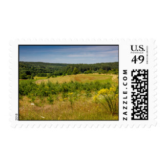 Meadow Landscape, Green Hills and Blue Sky Postage
