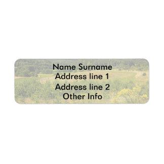 Meadow Landscape, Green Hills and Blue Sky Return Address Label
