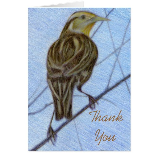 Meadow Lark Thank You Note Template Stationery Note Card