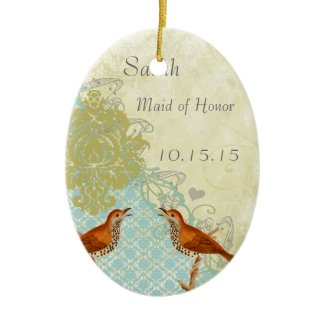 Meadow Larks Vintage Bird Maid of Honor Ornaments ornament