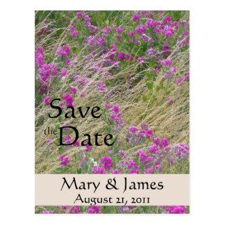 Meadow of Sweet Peas Save the Date Postcard