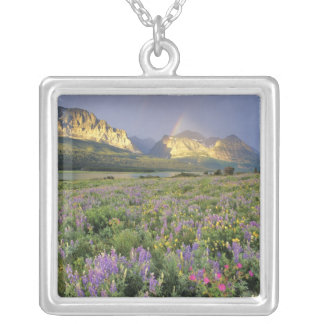 Meadow of Wildflowersnear Lake Sherbourne in Square Pendant Necklace