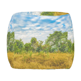 Meadow Tropical Landscape Scene, Guayaquil Outdoor Pouf