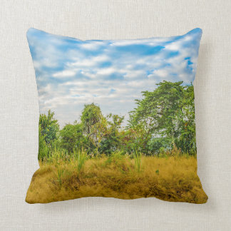 Meadow Tropical Landscape Scene, Guayaquil Throw Pillow