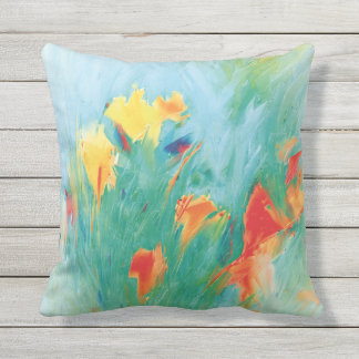 MEADOW WIND Colorful Windswept Flowers Custom Throw Pillow