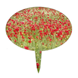 Meadow With Beautiful Bright Red Poppy Flowers Cake Topper