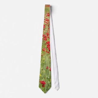 Meadow With Beautiful Bright Red Poppy Flowers Tie