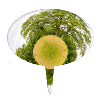 Meadow with trees like little planet cake topper