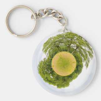 Meadow with trees like little planet keychain