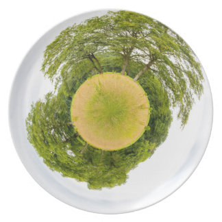 Meadow with trees like little planet melamine plate