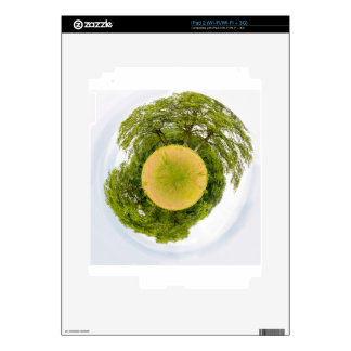 Meadow with trees like little planet skins for the iPad 2