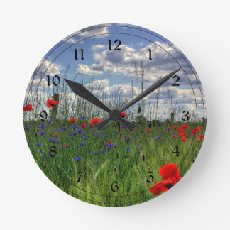 Meadow with Wildflowers Round Wallclock