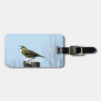 Meadowlark occidental etiqueta para equipaje