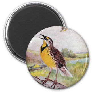 Meadowlark on a Branch 2 Inch Round Magnet