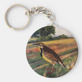 Meadowlarks in a Grassy Field Basic Round Button Keychain