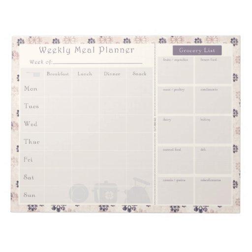 Meal Planner Purple Flower 2 Notepad