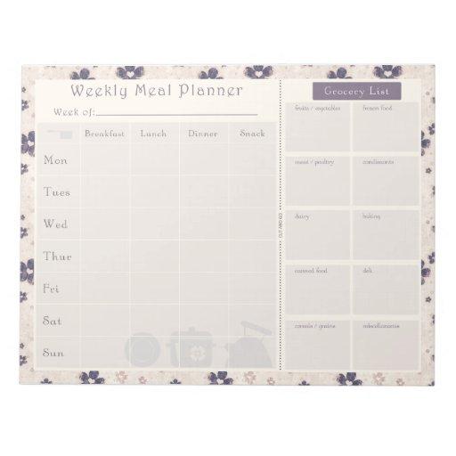 Meal Planner Purple Flower Memo Pads