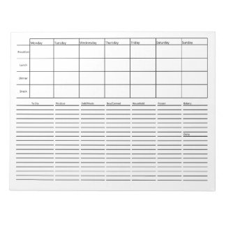 Meal Planning & Grocery List Notepad