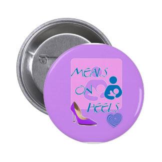Meals on Heels! Breastfeeding Design 2 Inch Round Button
