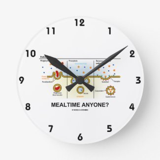 Mealtime Anyone? (Endocytosis Cellular Eating) Round Wall Clock