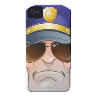 Mean Angry Cartoon Police Man Cop in Shades iPhone 4 Case