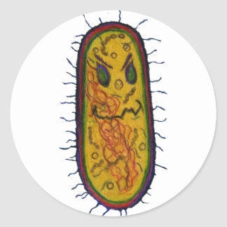 Mean Bacteria Cartoon Character Classic Round Sticker